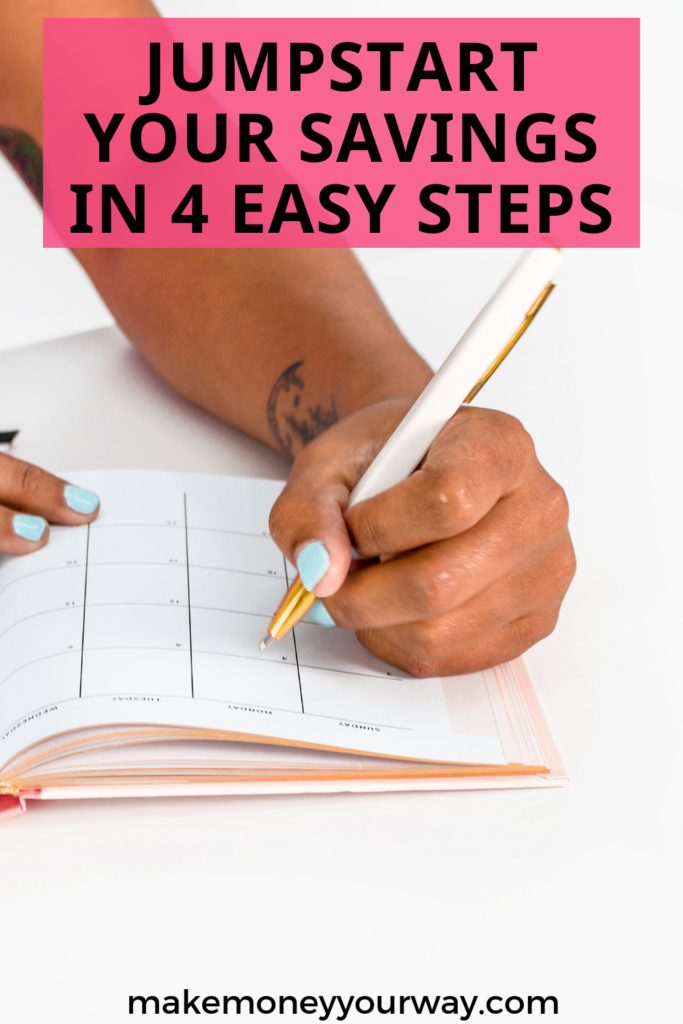 Jumpstart Your Savings In 4 Easy Steps. If you're tired of spending when you should be saving, take a look at this quick guide. It can outline an easy path towards squirreling away some extra cash for a rainy day. #savingtips #saving #tips #financialplanning